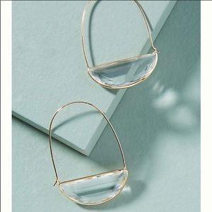 NWT Anthropologie Stone crescent hoop earrings